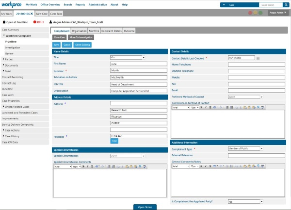 Img: Workpro New Complaint Case Screenshot